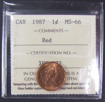 1987  Canada 1 Cent  ICCS graded MS-66; RED (small cent or penny)
