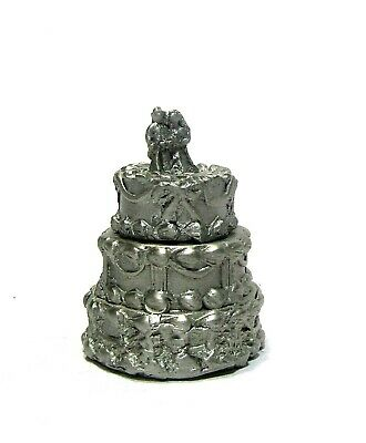 Tcc 2 Pc The Wedding Cake Pewter Thimble Lift Top To See The Lucky Horseshoe