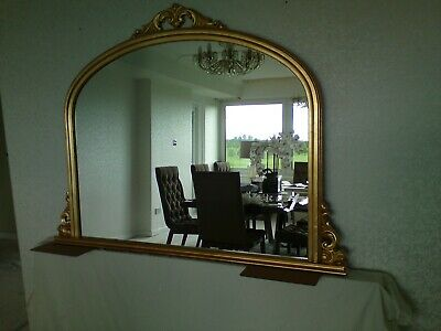 Distressed Gold Mirror Over mantel French Antique Style  120x106 cms