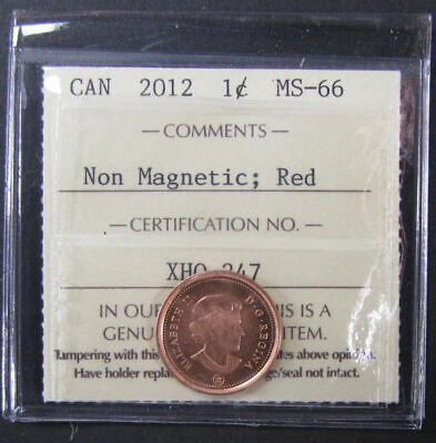 2012 Non-Magnetic  Canada 1 Cent  ICCS graded MS-66; RED (small cent or penny)