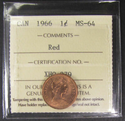 1966  Canada 1 Cent  ICCS graded MS-64; RED (small cent or penny)