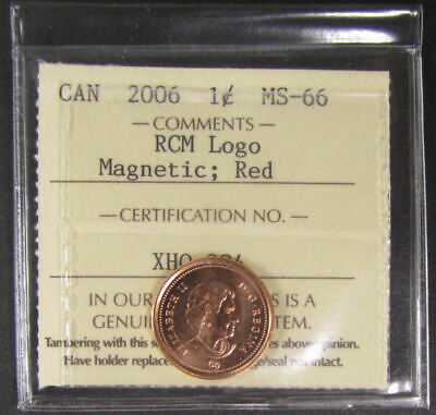 2006 RCM logo Magnetic Canada 1 Cent ICCS graded MS-66; RED(small cent or penny)