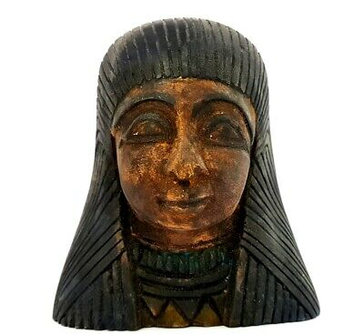 Rare Meritamun Goddess Egyptian Antique Head Statue Ancient Faience Sculpture