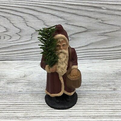 1987 C. Royston Painted Primitive Santa Claus Little Nicholas Folk Art Figurine
