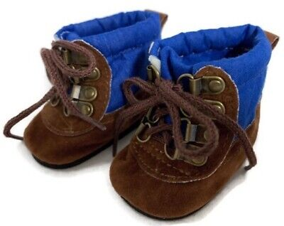 """Boy Brown & Blue Hiking Boots Shoes made for 18"""" American Girl Doll Clothes"""