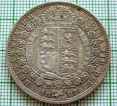 1887 QUEEN VICTORIA BRITANNIARUM Jubilee Head Sterling Half ½ Crown