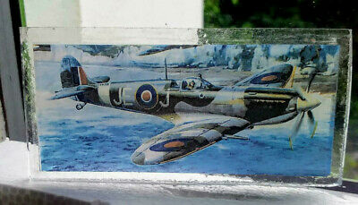 Stained Glass Supermarine Spitfire pane - Kiln fired vintage plane World War 2
