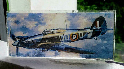 Stained Glass Hurricane fighter plane - Kiln fired pane World War 2