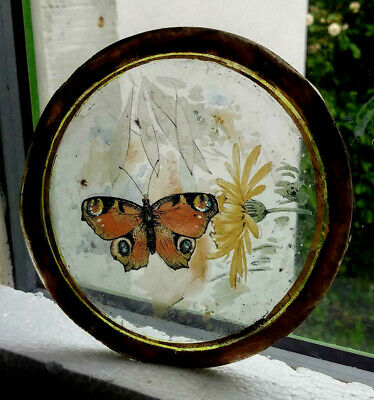 Stained Glass Butterfly Roundel -  Kiln fired fragment pane piece!