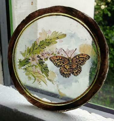 Stained Glass Butterfly Roundel -  Kiln fired fragment pane piece! 2/2