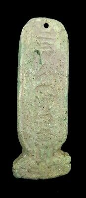 Royal Column W/T Heroghliphics Amulet Egyptian Antique Faience Amarna Craft