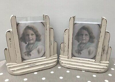 Vintage Pair Of Art Deco Wooden Photo Frames - Upcycled, Shabby Chic Style