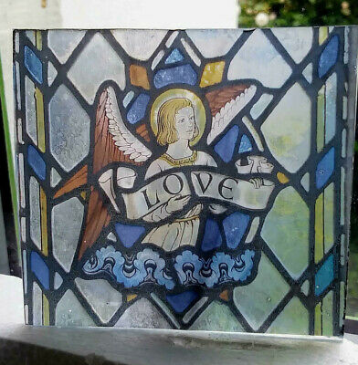 "Stained Glass  ""Love""  Kiln fired.transfer piece semi translucent pre-raphaelite"