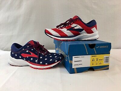 best loved fc509 53fd3 BROOKS LAUNCH 5 Victory Stars Stripes 4th July USA Women's Running Shoes  NEW 8.5