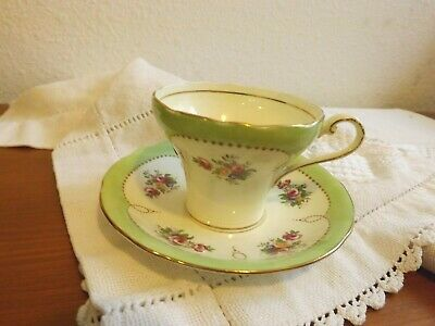 Aynsley England Cup & Saucer Roses & Florals Pale Green Corset Shape