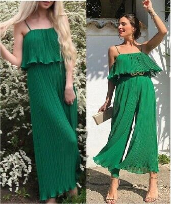 963b5e95 Zara Green FLOWY FLOWING ACCORDION FRILL RUFFLED PLEATED JUMPSUIT WITH  STRAPS M