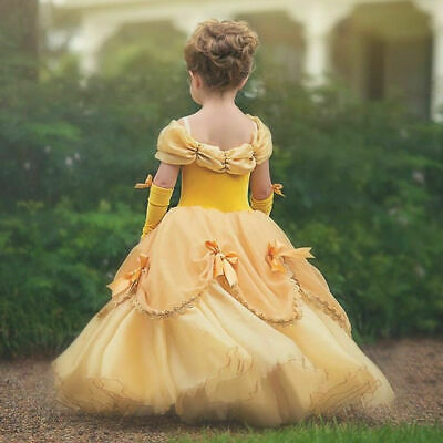 Girls Beauty and the Beast Belle Princess Dress Costume for Kids Birthday Party
