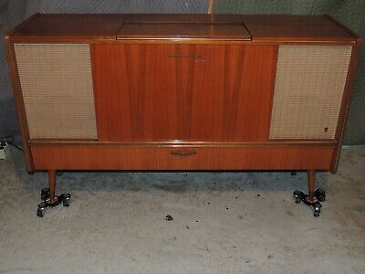 Vintage Grundig Console Model SO161 Radio/Phon/Tape w/Twin Remote Speakers