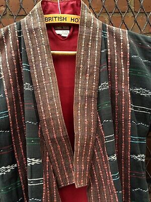 "Kimono jacket robe duster coat tapestry Thailand 44"" chest XL cotton vintage"