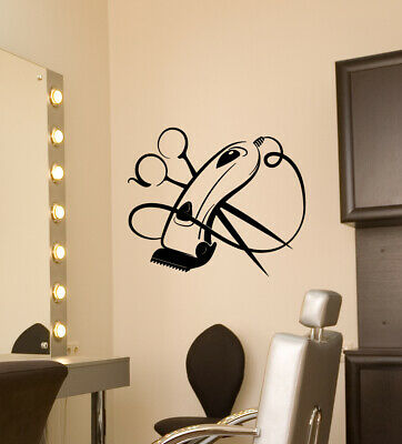 Vinyl Wall Decal Hair Clipper Scissors Haircut Barbershop Logo Stickers (3756ig)