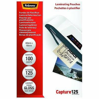 Fellowes Capture 60X90mm 125 Micron Glossy Laminating Pouches Pack Of 100