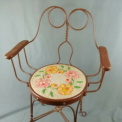 Painted Wrought Iron Parlor Chair Flower Crewel Seat Cover Cottage Patio 36.5 in