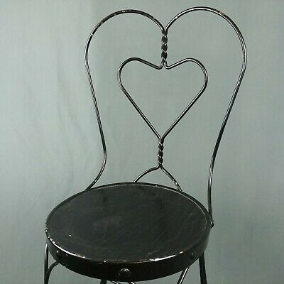 Vtg Ice Cream Parlor Heart Chair Twist Metal Wood Seat Chippy Black Paint Patio