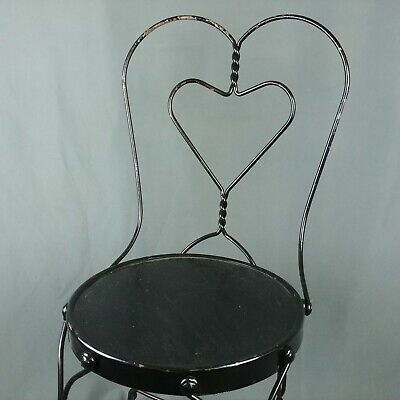 Vtg Ice Cream Parlor Heart Chair Twist Metal Wood Seat Chippy Black Paint Wobble