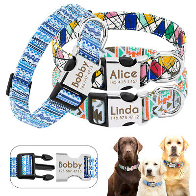 Personalized Dog Collar Small Medium Soft Nylon Engraved For FREE Blue Green