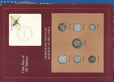 Coin Sets of All Nations Sri Lanka w/card UNC 1978-1988 5,10 Cents 88 Rupee 1982