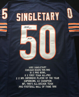 45292879e07 Mike Singletary Chicago Bears Signed Autograph Blue Football Stat Jersey  JSA COA