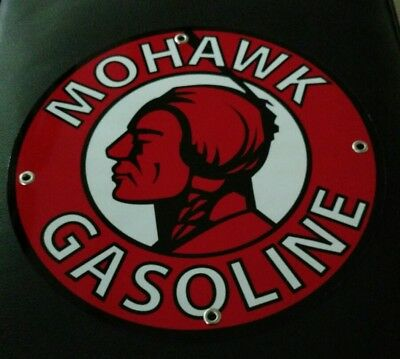 Mohawk Gasoline gas oil sign ..FREE ship on 10 signs