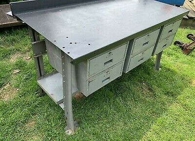 Awesome Vintage Lyon Workbench Table W 6 Drawers Industrial Steel Gmtry Best Dining Table And Chair Ideas Images Gmtryco
