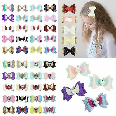 Kids LOL Unicorn Ballet Girl Angel Wing Glitter Sequins Bow Hair Clips Hair Grip