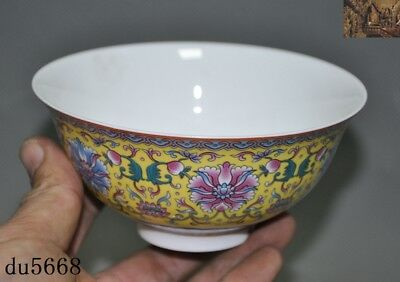Old China dynasty palace yellow glaze Wucai porcelain flower Tea cup Bowl statue