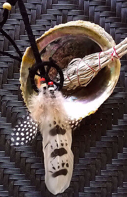 Deluxe Abalone Shell White Sage Smudge Kit,Tripod,One Native American Smudger