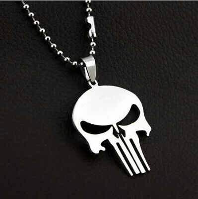 """The Punisher Skull Pendant Silver Stainless Steel Necklace With 23"""" Beads Chain"""