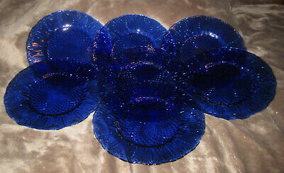 "Avon Cobalt Blue Royal Sapphire Glass 8"" Plates Seven Beautiful Plates Leaves"