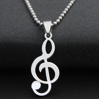 """Musical Note Titanium Steel Pendant Men's Necklace 23"""" Silver Chain Jewelry Gift"""