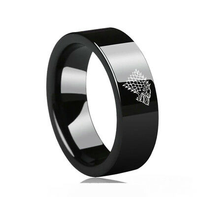 Game of Thrones Direwolf House Stark Winterfell Valyrian 10mm Steel Band Sz6-13