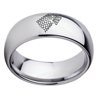 Game of Thrones Ice Wolf House Stark Winterfell Valyrian Steel Band Size 6-13