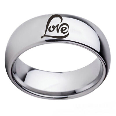 Love Heart Logo Stainless Steel Arc Edge Silver Black Band Couple Ring Size 6-13