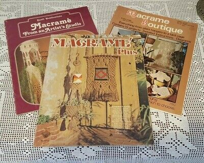 3 x Vintage 1970's Macrame Creative Instructional Booklets Large Formats