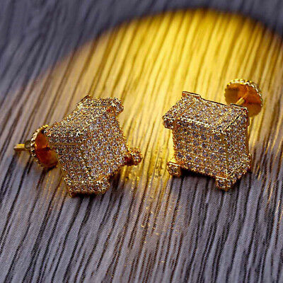 18K Gold ICED OUT Simulate Diamond Micropave AAA Earring Stud Square Hip Hop SU