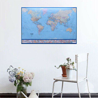 1PC World Map Poster Clear High-Gloss Silk Poster for Decoration School Office