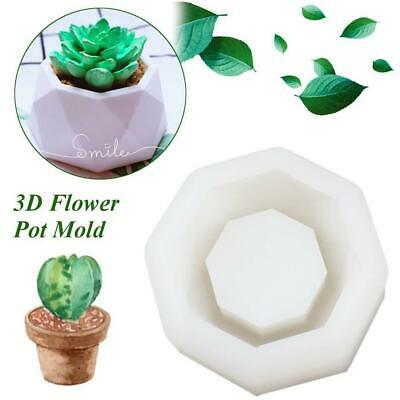 1X DIY Flower Pot Silicone Molds Garden Planter Cement Concrete Vase Soap Moulds