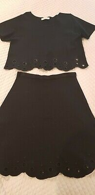 Sandro Paris Top & Skirt Black Stretch Knit Size 3