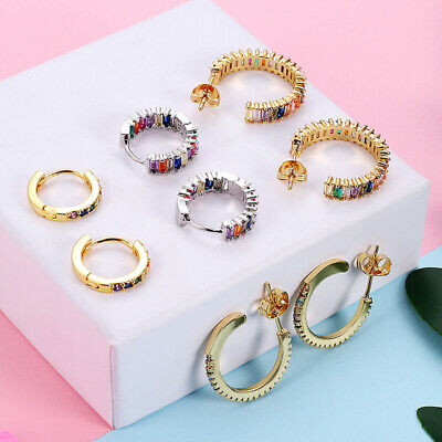 Gold/Silver Color Round Circle With Multi-color CZ Stone Hoop Earrings Oorbellen