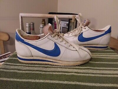 finest selection 2f147 64437 VINTAGE 70'S NIKE CORTEZ USA Made White/Blue Swoosh Shoes See Size Below