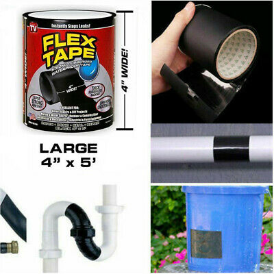 """New Flex Tape Clear Strong Water Proof 4"""" x 5' Rubberized Seal Stop Leaks Tape"""